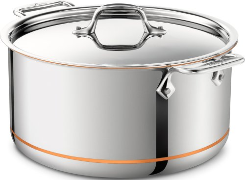 All-Clad 6508 SS Copper Core 5-Ply Bonded Dishwasher Safe Stockpot/Cookware, 8-Quart, Silver Dishwasher Safe Stock Pot