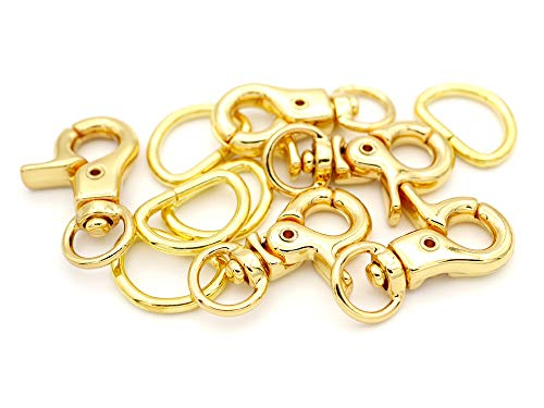 Eye Hardware Swivel (CRAFTMEmore 1-1/4 Swivel Trigger Snap Hooks Purse Landyard Clip Lobster Claw Clasps with D-Rings 10 Sets (Gold))