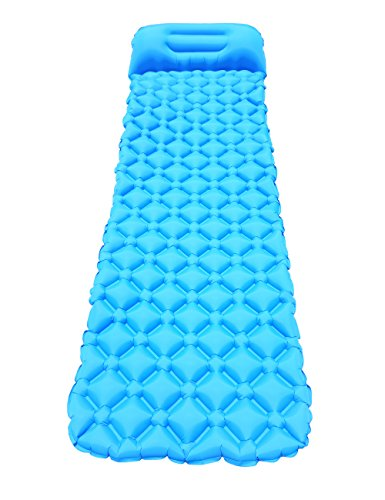 Lakebirds Ultralight Sleeping Pad/Camping/Travel/Hiking/Super Comfortable/Air-Support Ultra-Compact for Backpacking/40D Ripstop Woven Nylon Blue