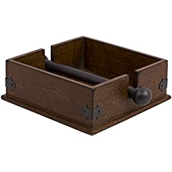 Creative Co-Op CG0232 Square Wood Napkin Holder with Metal Bar, 9.5-Inch, Brown