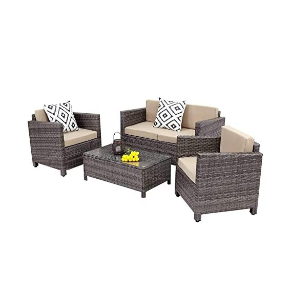 Wisteria Lane Outdoor Patio Furniture Set,5 Piece Conversation Set Wicker Sectional Sofa Loveseat Chair Gray Wicker,Tan Cushions - HANDWORK MATERIAL - Made of strong galvanized steel frame,weather-resistant hand woven PE rattan can withstand changeable weather,won't rust or fade,guaranteed to give you a weather resistant set that will last your for years to come OPTIMAL COMFORT - Cushions filled with thick sponge for optimal comfort and relaxation, wide and deep seat will provide enough room to seat comfortably EASY CLEANING - All cushions come with zippered polyester covers which are removable.Table with removable tempered glass adds a sophisticated touch and allows you to place drinks,meals,or decorative items on top - patio-furniture, patio, conversation-sets - 41m%2BOzqdXiL. SS570  -