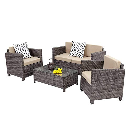 Wisteria Lane Outdoor Patio Furniture Set,4 Piece Conversation Set Wicker Sectional Sofa Loveseat Chair Gray Wicker,Beige Cushions