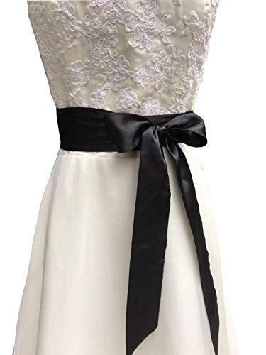 Eyrie Satin Sash Belt for Bridal Wedding Bridesmaid Dress Belt 2'' Wide Silk Satin Material (Black)