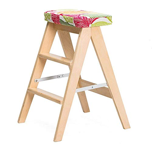 BRNEBN Chair-Folding Stool Solid Wood Simple Folding Ladder Stool Kitchen Stool Portable Stool Home Bench Home Convenient (Color : 1)