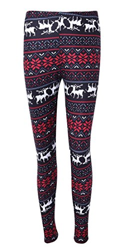 Women's Full Length Snow White Costumes (DREAGAL Womens Red Snowflake And White Reindeer Printed Stretchy Leggings Pants 3X-Large)