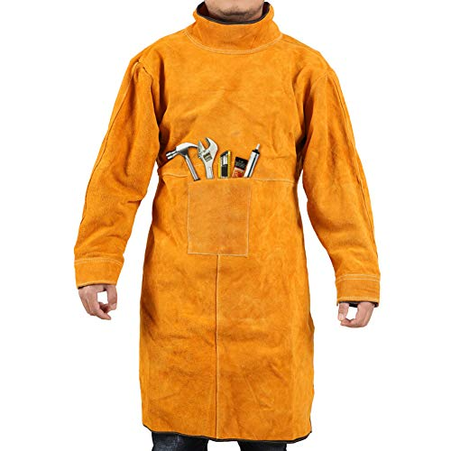 Gotega Welding Jacket XL/Leather Welding Apron/Heat & Flame-Resistant Heavy-Duty Work Apron/Anti-scald Flame Resistant Welding Coat for Welder/Men