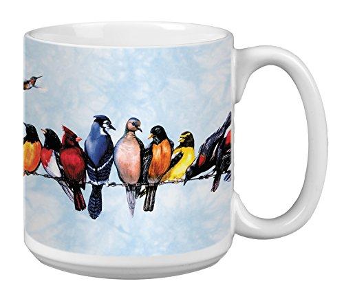 Russell Ceramic Mug (Tree-Free Greetings Extra Large 20-Ounce Ceramic Coffee Mug, Chorus Line Themed Birds Art)