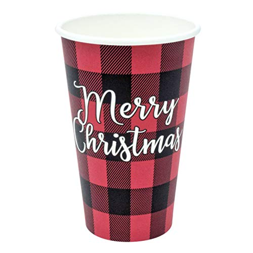Greenhouse Compostables, Merry Christmas Paper Cups, 50 ct, 16oz - 100% Compostable, Red and Black Buffalo Check Plaid, Disposable Holiday Party Drinkware