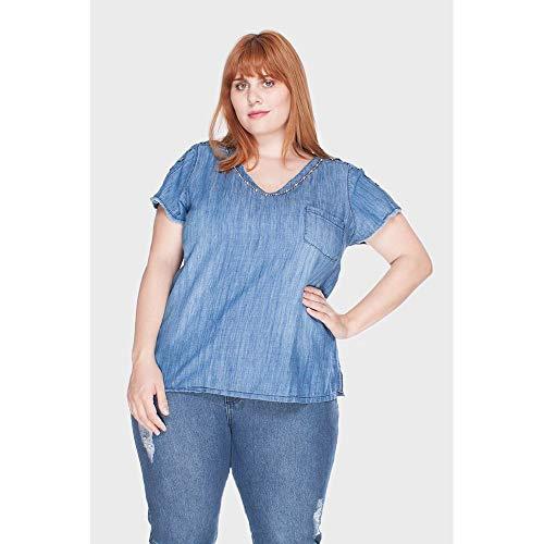 Blusa Ombro Aberto E Botões Plus Size Azul-58