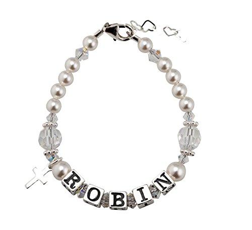 Swarovski Name Bracelet (Personalized Name Christening Toddler Bracelet with Swarovski Crystals (BWNP_S))