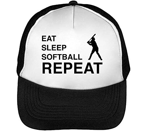Softball Hombre Snapback Beisbol Gorras Blanco Sleep Repeat Negro Eat znBx57Cqgw
