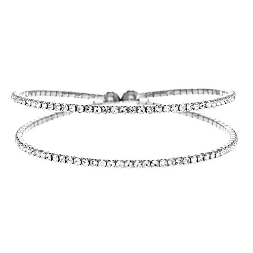NTLX Women's Silver Rhodium Plated Clear Round Rhinestone 2 Line Memory Wire Bracelet (Silver)