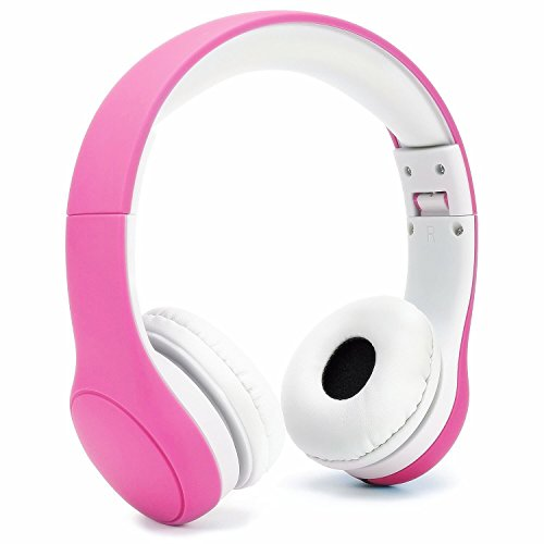 KPTEC Foldable Kids Headphones Volume Limited Wired Earphones with a Microphone for Children - Pink