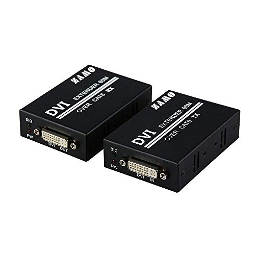 DVI Extender, ZAMO 1080p to 196ft 60M DVI Extender Over Single Cat6 TX/RX Ethernet Converter (1xTransmitter+1x Receiver+ 1 Pair Power Adapters)