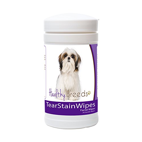 Healthy Breeds Dog Tear Stain Remover Wipes for Shih Tzu - Over 100 Breeds - Facial Eye Cleaner - 70 Wipes - Cleans Crust Stains Mucus Saliva - Mild Gentle Fragrance Free Shih Tzu Face