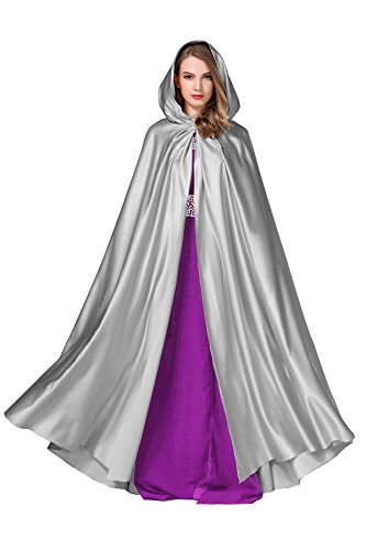 Women's Wedding Hooded Cape Bridal Cloak Poncho Full Length Dark Silver -