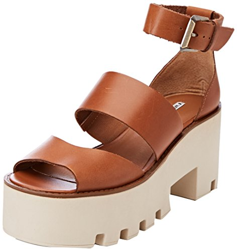 Donna Sandali Marrone Leather Plateau con Smith Puffy Tan Windsor wXqU4n