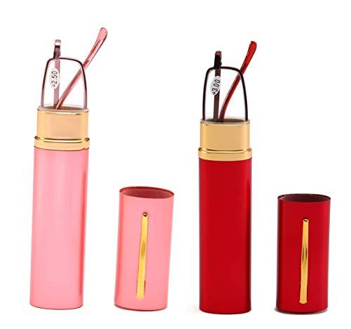 SOOLALA Lightweight Compact Reader Reading Glasses Reader w/Pen Clip Tube Case, PinkRed, 2.0D (Twenty Two Glass Light)
