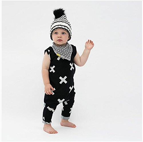 Charm Kingdom Newborn Kids Baby Boys Girls Sleeveless Summer Cotton Romper Jumpsuit Outfits (70 (0-6M), Black)