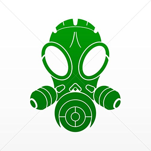 Decal Stickers Gas Mask Skull Decoration Bike Motorbike Bicy Green Dark (4 X 3.19 Inches)]()