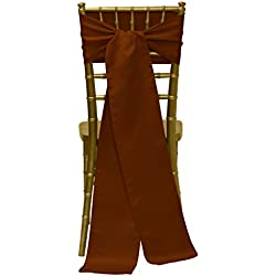Ultimate Textile Satin 8 x 100-Inch Chair Tie Sash Copper Brown