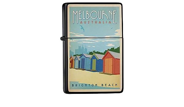 Encendedor De Gasolina Impreso Recargable Casetas de playa Melbourne Australia Brighton Beach: Amazon.es: Hogar