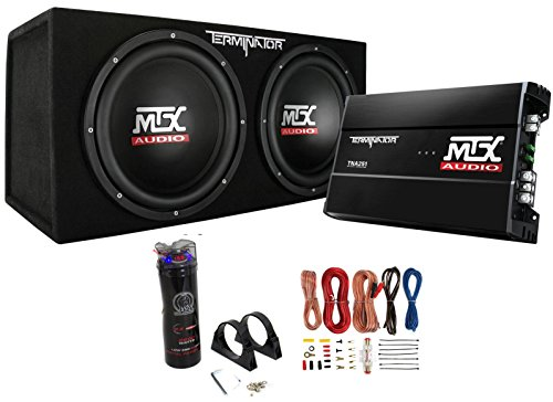 "MTX Dual 12"" Subwoofers and Amplifier Package with Wiring Kit + Digital Capacitor"