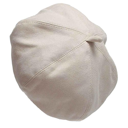 Pikolai Women New Suede Fabric Fashion Casual Beret Hats (S, White)