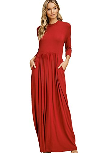 Premium Quarter Round - Annabelle Women's Quarter Sleeve Round Neck Pleated Full Length Solid Print Dress with Side Slanted Pockets Red Small D5185K