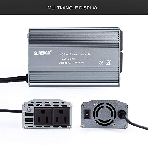 ClookYuan 400W Car Power Inverter with 2 Outlets /& 2 USB Charging Ports Auto Inverter Ultra Compact for Smartphones