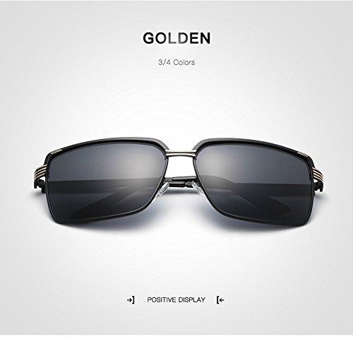 de al Golden Estilo de Gafas Conducción polarizado Sol Sol Moda para Adultos Libre Retro para Ruanyi Gafas Negro de Oro Aire de Pesca UV400 Hombres PUv55