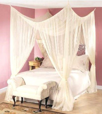 Dreamma 4 Poster Bed Canopy Mosquito Net Queen King Size ()