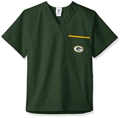 NFL Scrub Dudz Solid Scrub Top, Green Bay Packers, Green]()