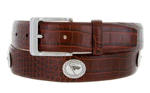 - Masters Italian Calfskin Golf Belt With Golf Flag Conchos