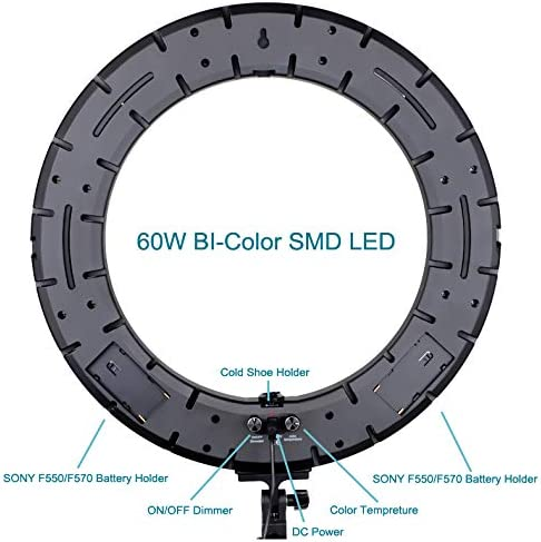18 inch Outer Dimmable Bicolor SMD LED Ring Light Lighting Kit for Smartphone Video Shooting with Remote Control Vivider TM