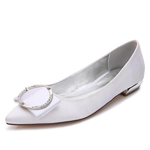 L@YC Zapatos de boda E-5047-27 de la boda Punta plana Bomba básica Elástico Satén Metal Cerrado Toe Custom Made Zapatos de gran tamaño Red