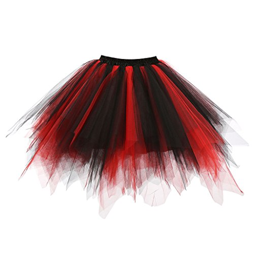 Musever 1950s Vintage Ballet Bubble Skirt Tulle Petticoat Puffy Tutu Black/Red Small/Medium -