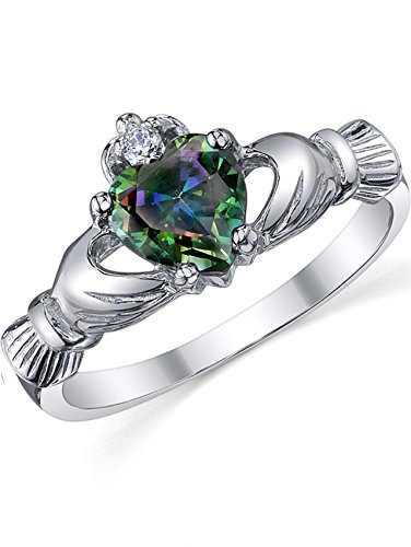 Sterling Silver 925 Irish Claddagh Friendship & Love Mystic Rainbow Simulated Topaz Color Heart Cubic Zirconia Ring 7