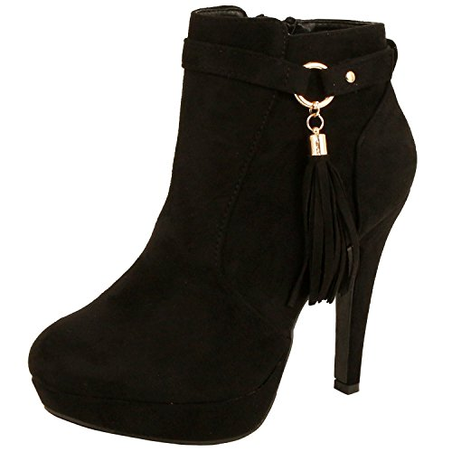 Suede Fringes Ankle Boots (Black) - 5