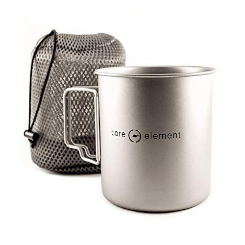 Core Element 100% Titanium Outdoor Ultralight Portable Cooking Pot Mug with Lid Open Campfire Cookware for Camping Backpacking and Hiking 750ml