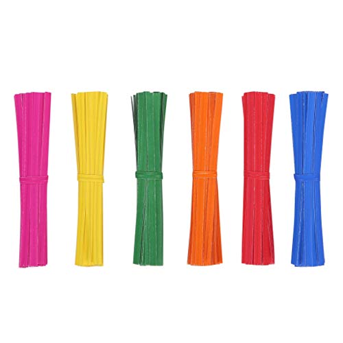 Quotidian 1200pcs Kraft Paper Twist Ties 4 inch for Treat Bags Kitchen Valentines Gift Electronics Cords, Bendable Reusable (Red Orange Green Yellow Blue Rose)]()