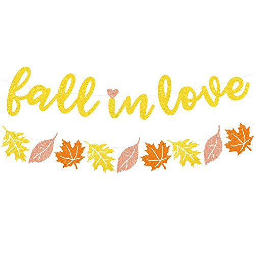 Fall in Love Glitter Banner Autumn Wedding Bridal Shower Engagement Party Maple Leaves (Love Bridal Shower)
