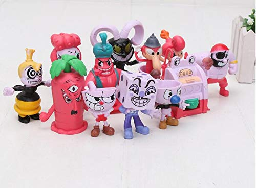 TANGGOOO 12Pcs/Set Cup Figure Mugman The Devil Ch King Dice PVC Game Action Figures Collectible Model Toys 4-8Cm Thing You Must Have 4 Year Old Gifts Girl S Favourite 5T Superhero Girls LOL UNbox