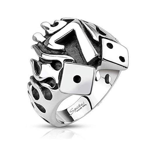Covet Jewelry Flaming Lucky Seven with Dice Cast Ring Stainless Steel (Width: 0.87