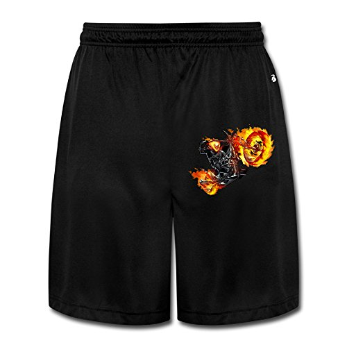 (AOLM Mens Performance Shorts Sweatpants Trousers Ghost Rider Black)