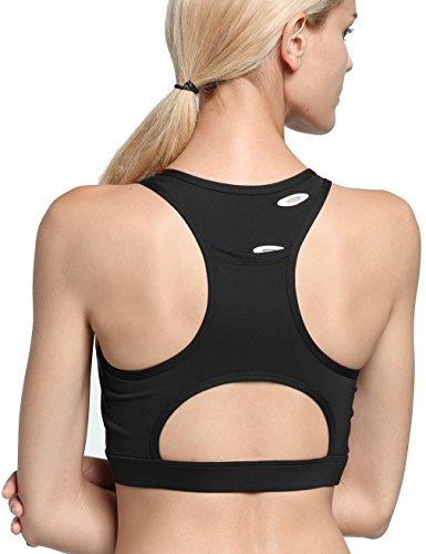 con Sportivo FITIBEST Tasca Reggiseno traspirante Posteriore Donna Fitness Telefono Nero Yoga Del 7qnY45YwU