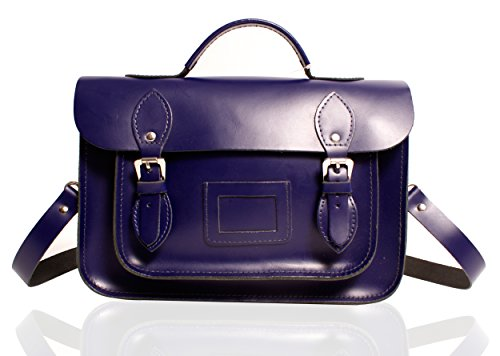 "13"" Royal Blue Deep Purple English Leather Briefcase Satchel - Classic Retro Fashion laptop / school bag"