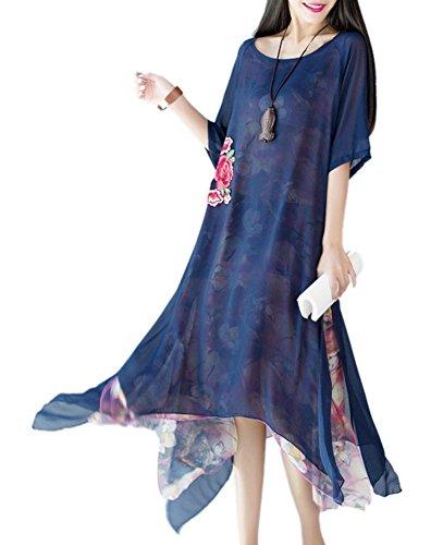 Silk Linen Dress (Women's Short Sleeved Floral Printed Silk Cotton Linen Dress Dark Blue)
