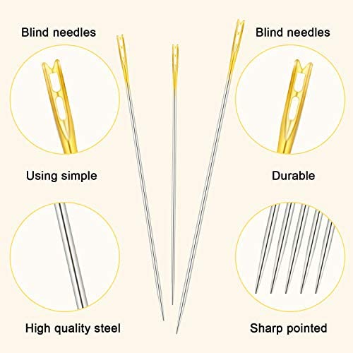 12 Pieces Self Threading Needles Double Hole Needles 9 Pieces Large Eye Stitching Needles Sewing Needles with 2 Pieces Wooden Needle Case Carving Pattern Case for Sewing Embroidery Accessories
