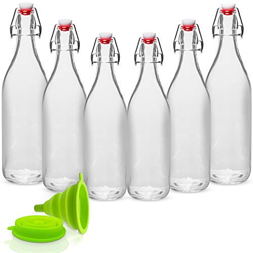WILLDAN Giara Glass Bottle with Stopper Caps, Set of 6-33.75 Oz Swing Top Glass Bottles for Beverages, Oils, Kombucha, Kefir, Vinegar, Leak Proof Lids ()